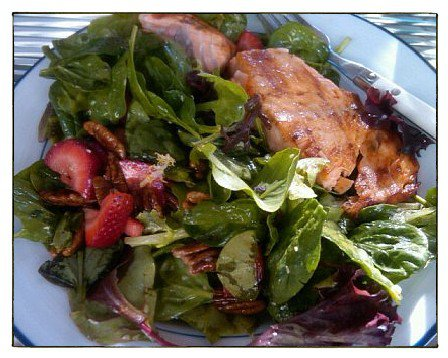 Salmon Strawberry Spinach Summer Salad