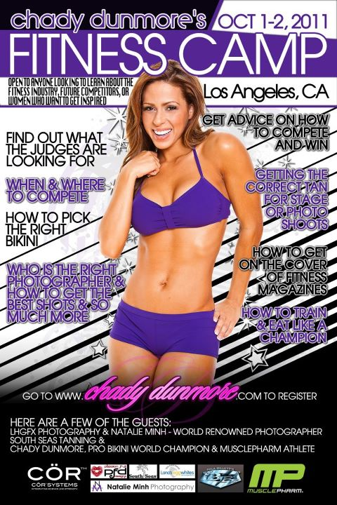 2x WBFF PRO Bikini World Champion Chady Dunmore's Fitness Camp, October 1-2, 2011, Los Angeles, California
