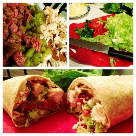 Chicken and Steak Wraps
