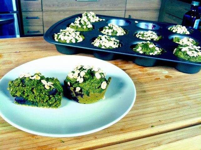Green Tea Blueberry Protein muffins.