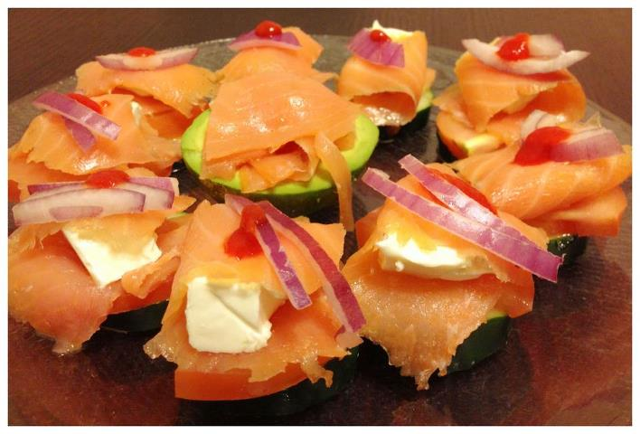 Spicy smoked salmon snack.